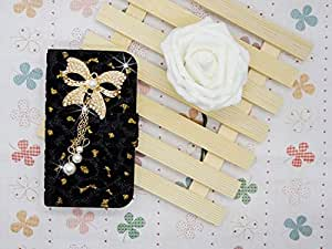 Luxury Crystal Rhinestone Diamond pearl bow bowknot BLING CRYSTAL Leopard Velvet COVER WALLET CASE FOR Samsung Galaxy Grand Duos i9080 i9082 black