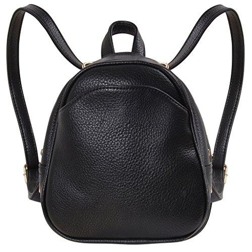 Humble Chic Mini Vegan Leather Backpack - Convertible Shoulder Purse Handbag Tiny Crossbody Bag, Black (Leather Lined Mini Bag)