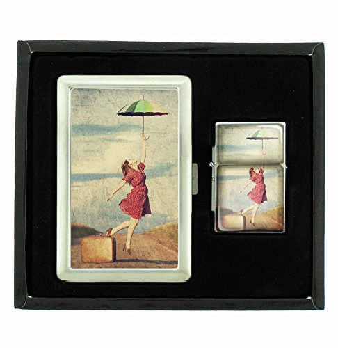 Umbrella Girl Vintage Traveler Cigarette Case and Flip Top Oil Lighter Set by Customized Collectables