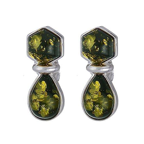 Green Baltic Amber Sterling Earrings - 6