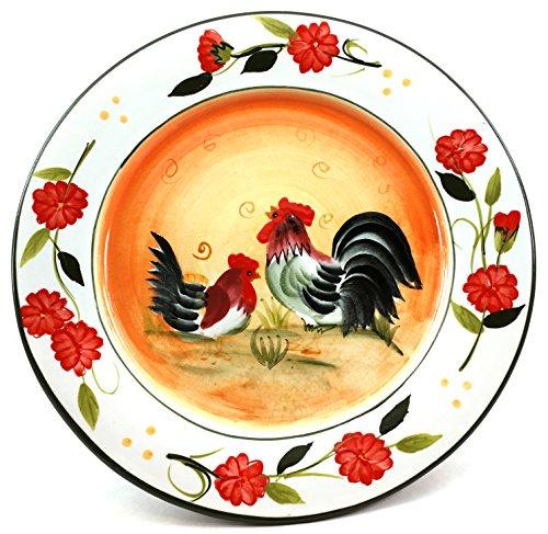 Decorative Orange Rooster Plate - 8.5