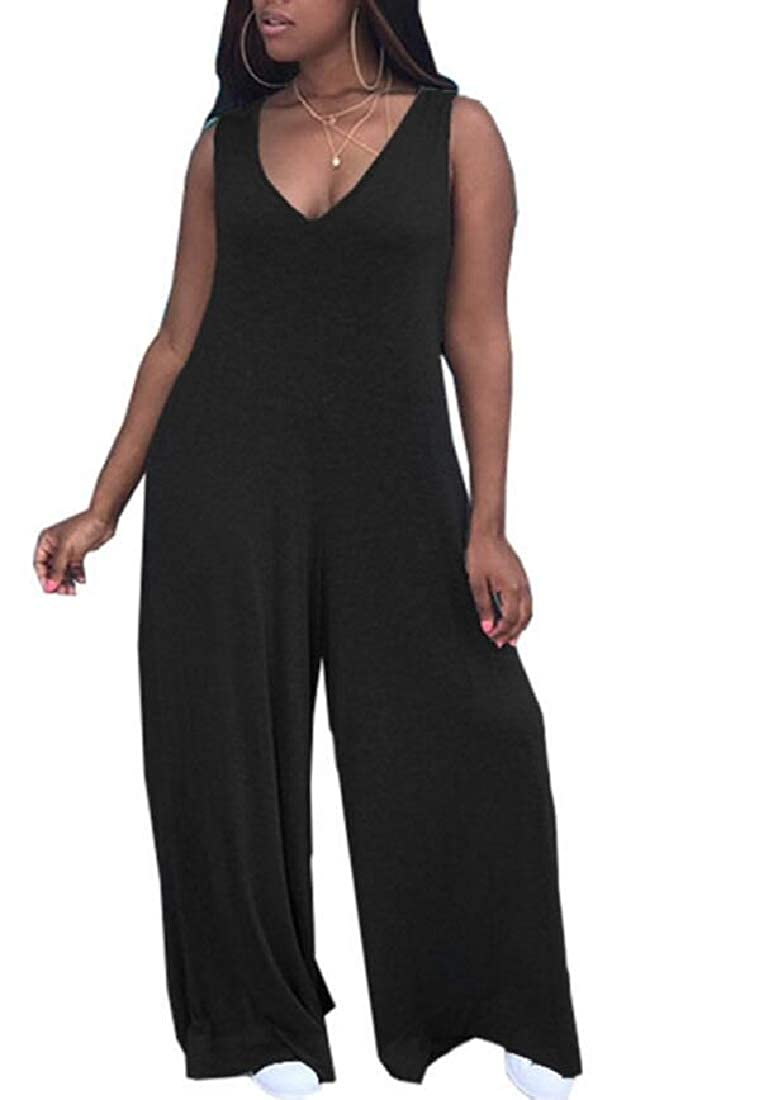 XXBlosom Womens V Neck Wide Leg Sleeveless Solid Color Casual Rompers Jumpsuit Black L