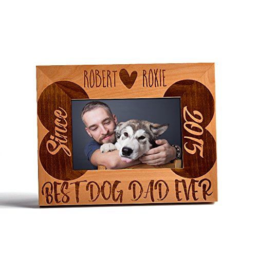 Personlized Father's Day Gift Picture Frame Alder Wood Best Dad Ever Customized Bone Best Dog Dad Ever 4x6 - Dog Bone Picture Frame