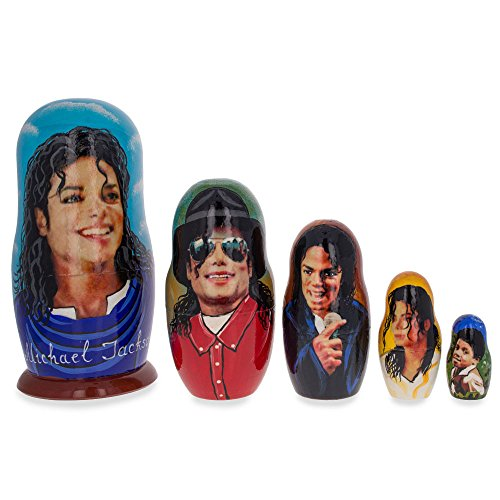 [Set of 5 Michael Jackson Matryoshka Wooden Russian Nesting Dolls] (Michael Jackson Decorations)