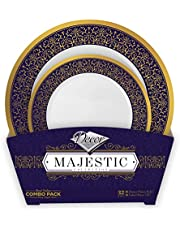 Decorline - Classy, Blue & Gold Party Plastic Plates Set - Majestic Collection, High Quality Disposable Dinner Plates - China Look, All Occasion Plastic Dinnerware Set - 32 Pieces