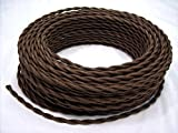 Brown Cotton Cloth Covered Twisted Electrical Wire Lamp Cord Antique Fan offers