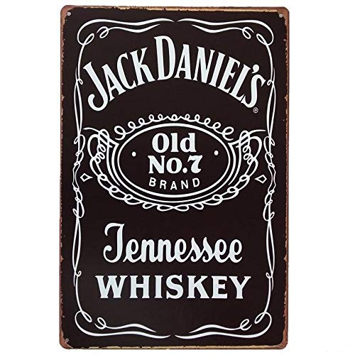 - Jack Daniel's Old No.7 Tennessee Whiskey, Whisky Metal Tin Sign, Vintage Style Wall Ornament Coffee & Bar Decor, 20 X 30 Cm.