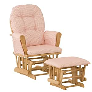 Stork Craft Hoop Glider and Ottoman, Natural/Pink Gingham (Discontinued by Manufacturer)