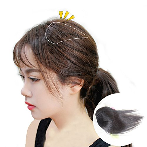 """Moreal 10"""" Straight Remy Human Hair Extensions Clip in Wiglet for Women Natural Black - Head Topper"""