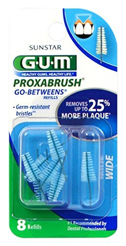 (GUM Go Betweens Proxabrush Refills, Wide, 8-Count Packages (Pack of 6))