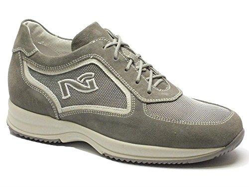 Sneakers Nero Giardini per uomo in camoscio e tessuto tecnico grigio (Taglia 42)