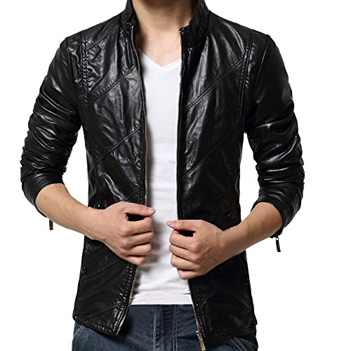 Tomatoa Men Leather Jacket Autumn Winter Fashion Biker Motorcycle Zipper Outwear Warm Coat,Men's Locomotive Diagonal Zipper Leather Jacket Black