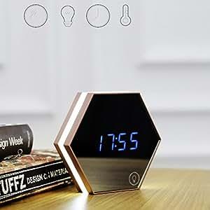 Zantec Multifuncional LED Reloj de pared de luz de la noche Termómetro Reloj de alarma de vidrio digital Espejo: Amazon.es: Hogar