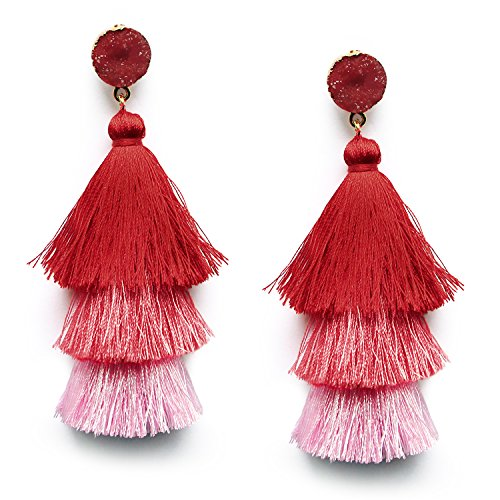 Red Ombre Layered Tassel Earrings Studs Bohemian Long Drop Fringe Earrings for Women Girls Halloween Costumed Christmas Earring -