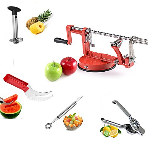 Fruit Peelers & Vegetable Cutters Set Of 5: Watermelon Slicer,Pineapple Corer,Melon Baller/Scoop,Apple Peeler and Lemon Squeezer.Fruit Slicer Kit,Fruit Cutter Slicers Tools Set Fruit Salad Corer.