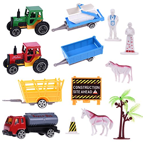 Farm Toys 13 pcs Farm Cars Play Set Farm Tractors Toys for Boys Diecast Car Set for Kids Trucks Educational Vehicles Play Set with Tractors, Animals, Farmers, Wagons, Super OIL and Accessories (Plastic Tractor)