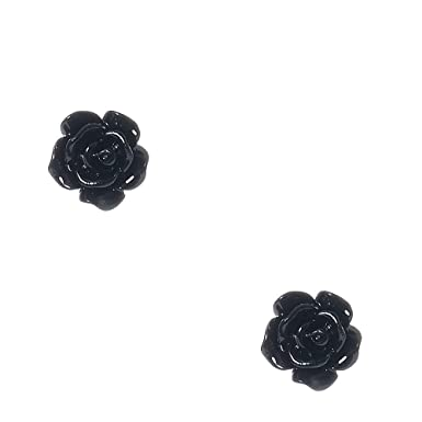 919d4e218 Claire's Girl's Black Glittered Carved Rose Stud Earrings: Claire's:  Amazon.co.uk: Clothing