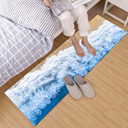 (HVEST Ocean Waves Rug Sea Water Rush to Tropical Beach Carpet Non-Slip Runner Rug for Living Room Bedroom Kitchen Floor Area Rugs,(1'4