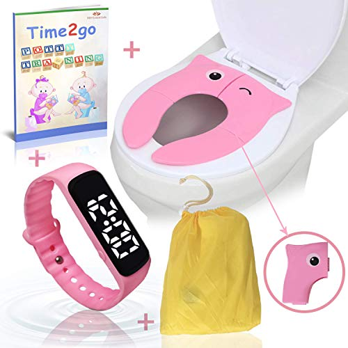 Toddler Potty Training Combo Kit by MH Essentials | Water Resistant Potty Training Watch for Toddlers & Foldable Portable Potty Seat Cover ● Bonus: Illustrated Potty Training E-Book Short Story