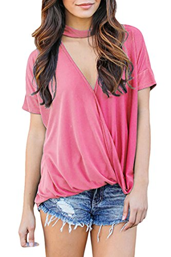 Elosele Womens Tie Dye Short Sleeve Choker V Neck Summer Top Loose Fit Casual Shirts