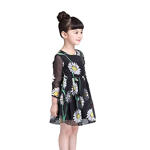 2f1209195 chinatera Kids Children Girls Beautiful Daisy Printed Princess Chiffon Dress  (100: for 2-
