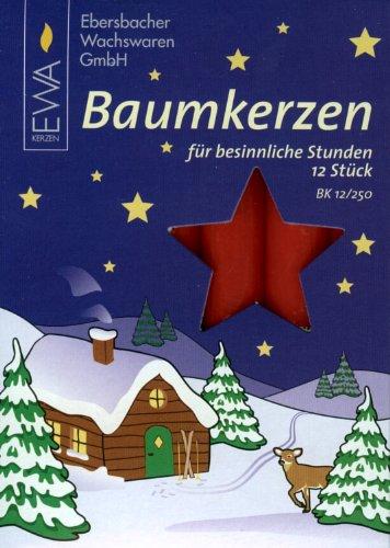 Red 15mm Diameter German Christmas Candles, Set of 12