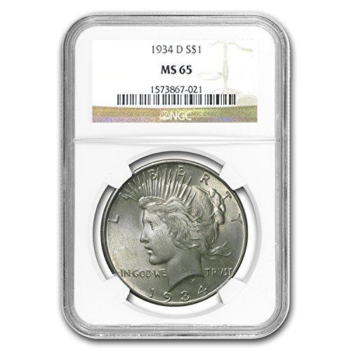 1934 D Peace Dollar MS-65 NGC $1 MS-65 - Five Dollar 1934
