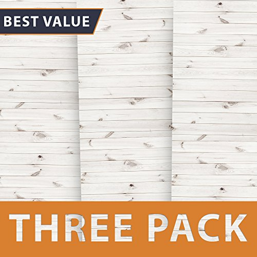 Premium Background Paper for Photography - White Wood 3 Pack - 4x12 Foot Rolls - Ideal Paper Backdrop for Your Home - Cute Shiplap Photography Backdrops for Baby Pictures, Headshots, -