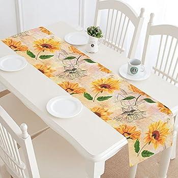 InterestPrint Summer Sunflower Table Runner Home Decor 14 X 72 Inch, Sunflower Floral Table Cloth