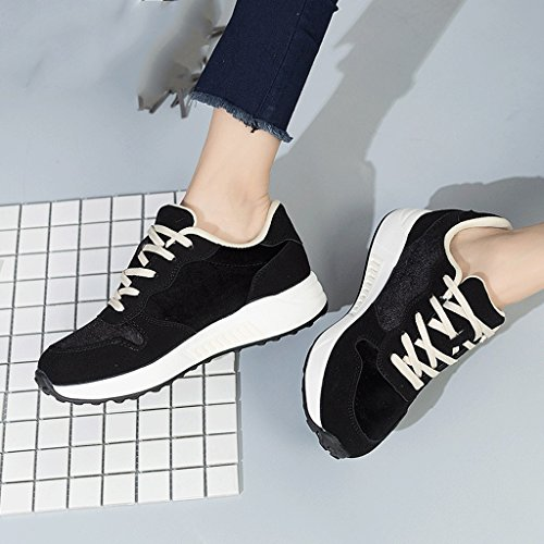 Women 's Flat - bottomed Sports Shoes Fashion Simple Lace Running Shoes Students Leisure Breathable Skateboard Shoes (Color : Black, Size : 36)