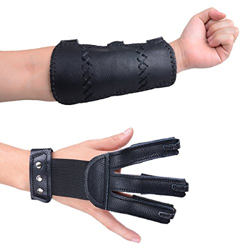 XTACER (Finger Protector & Arm Guard 3-Strap Leather Arm Guard with Three Fingers Design Archery Finger Protector Traditional Shooting Glove Fits for Hunting Recurve Bow
