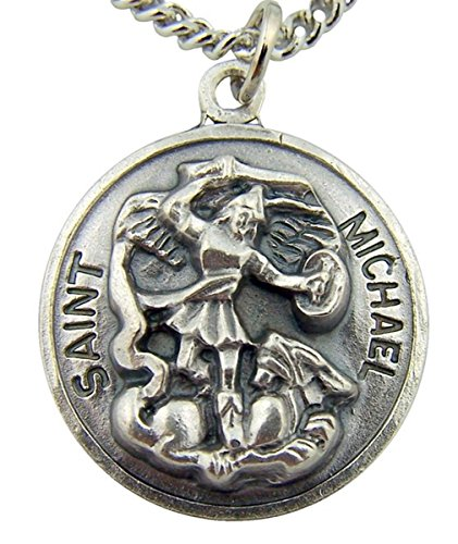 The Heritage Collection Silver Toned Base Saint Michael the Archangel Pendant, 7/8 Inch - St Michael Archangel Pendant