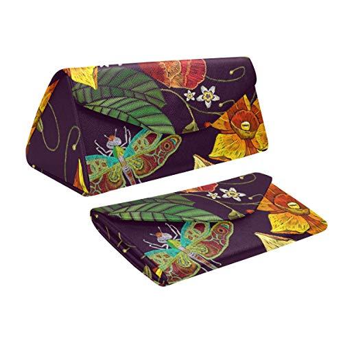 Glasses Case Narcissus Poppies Dragonfly Eyeglass Case Leather Magnetic Folding Hard Case Sunglasses Eyewear Protective Case