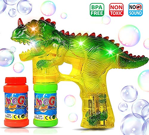 Haktoys Jurassic Dinosaur Bubble Gun Shooter Light Up Blower | Toy Bubble Blaster for Toddlers, Kids, Parties | LED Flashing Lights, Extra Refill Bottle, Sound-Free (Complementary Batteries Included)