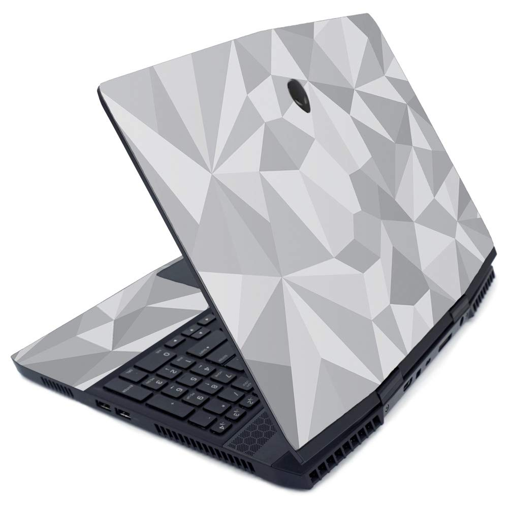 MightySkins Skin for Alienware M15 (2019) - Gray Polygon | Protective, Durable, and Unique Vinyl Decal wrap Cover | Easy to Apply, Remove, and Change Styles | Made in The USA