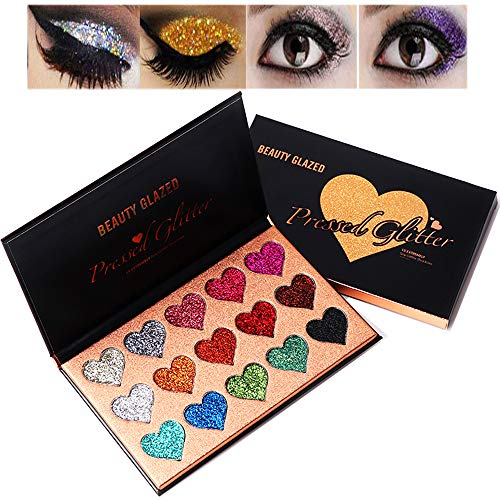 (Beauty Glazed Diamond Glitter Eyeshadow Palette Ultra Pigmented Mineral Pressed Glitter Make Up Eye Shadow Powder Bright Luminous Eyes Shimmer Shinny Glittering Waterproof 15)