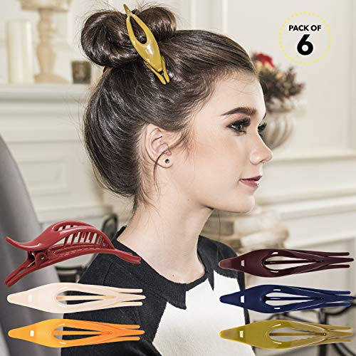 RC ROCHE ORNAMENT Womens Thin Curved Eyelet Side Slide No Slip Hair Clip Comfortable French Concord Duck Bill Pin Teeth Strong Hold Grip Beauty Accessory, 6 Pack Count Medium Classic Multicolor