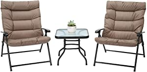 AVAWING 3-Piece Patio Chairs Outdoor Furniture Adjustable Reclining Bistro Set with Glass Coffee Table (Khaki)