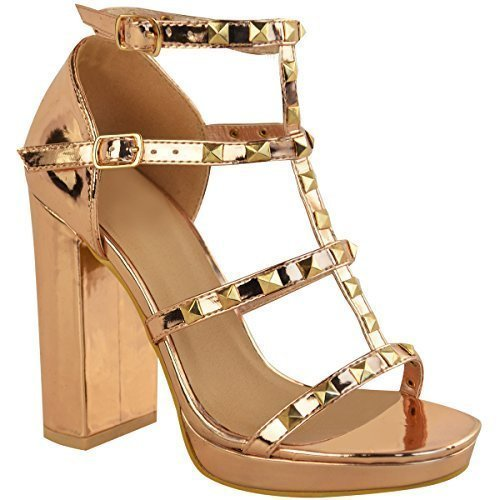 Fashion Thirsty Womens Ladies Stud Block High Heels Sandals Rose Gold Summer Strappy Shoes Size Rose Gold Metallic