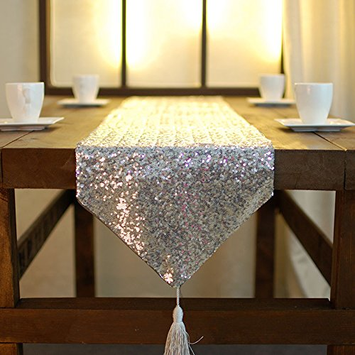 Christmas Tablescape Decor - Glamorous Silver Sequin Tasseled Table Runner