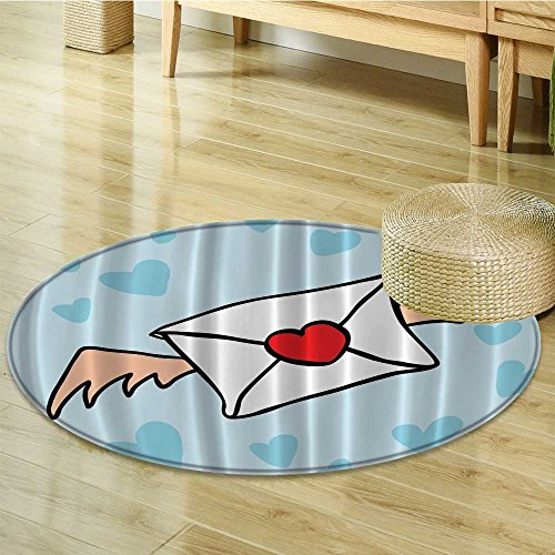 Lyrical Letters Vintage Envelope Heart Shaped Clouds Powder Home Decor Bath Textile Sweet Dreaming Romantic Girl Decorating Art Accent Digital Circle carpet Blue Aqua Red White-Diameter ()