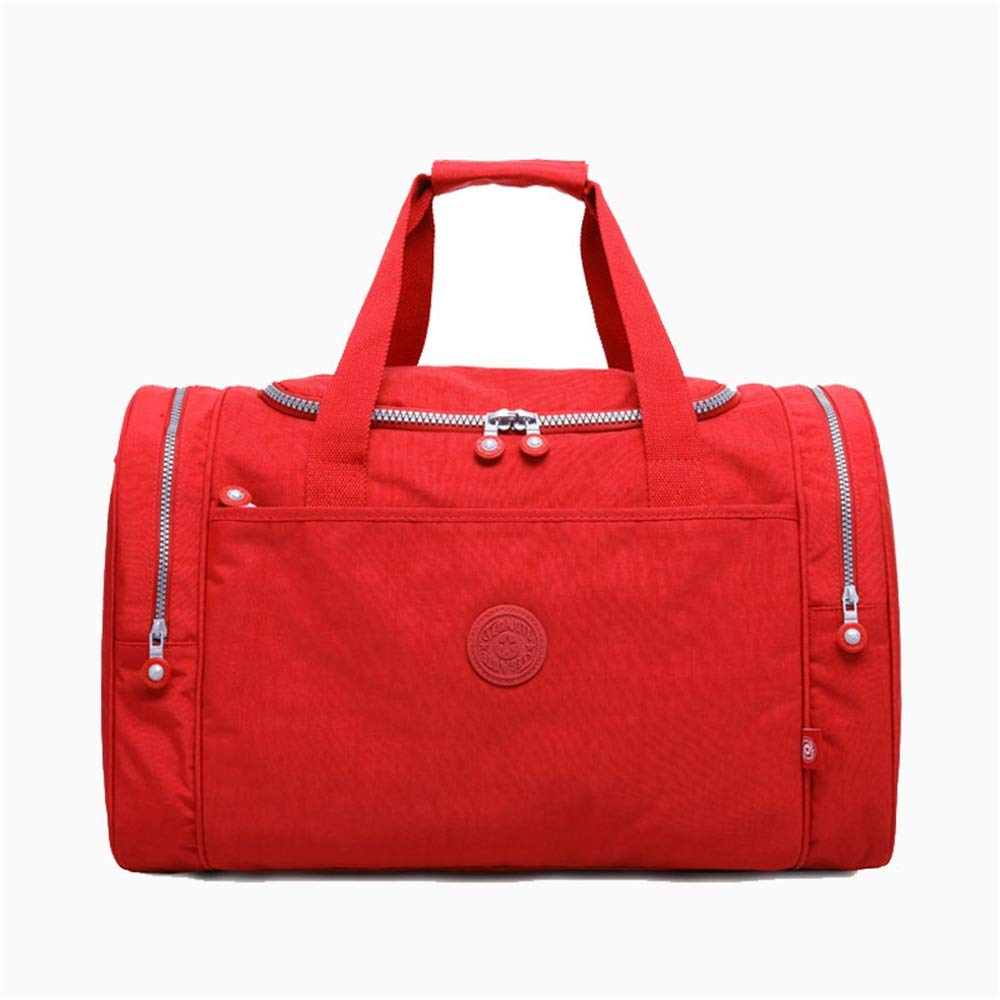 Ybriefbag Unisex Travel Bags High Capacity Lightweight Wear-Resistant Nylon Shoulder Bag Fitness Leisure Office Multifunctional Travel Bag Vacation Color : Red