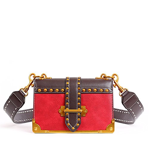épaule Large Bretelles Sac Messenger magnétique Loisirs Boucle rétro à Simple carrée bandoulière PU Bag Rouge IUpfAw