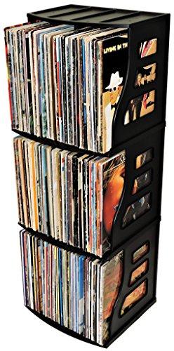 Stackable Vinyl Record Storage Rack 12'' LP Holder Organizer Over 75 Albums Ring Binder Stand Lever Arch Crate 12x12 Paper Storage Rack Magazine Holder Shelf Cube Box by Binder Way (Image #2)