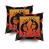 TOMWISH 2 PACKS Hidden Zippered Pillowcase southwest design kokopelli 18X18Inch,Decorative Throw Custom Cotton Pillow Case Cushion Cover for Home
