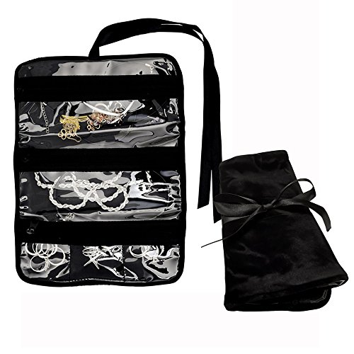 (ONLVAN Travel Jewelry Roll Bag & Jewelry Pouch Organizer with 5 Zipper Compartments for Earrings, Necklaces, Rings for Women & Men (Black))