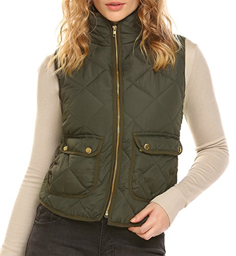 ELESOL Women Packable Lightweight Quilted Outdoor Puffer Vest Jacket Army Green XL (Quilted Green Vest)
