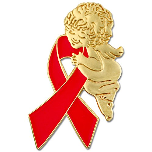Aids Awareness Ribbon (PinMart Red Awareness Ribbon Religious Spiritual Angel Enamel Lapel)