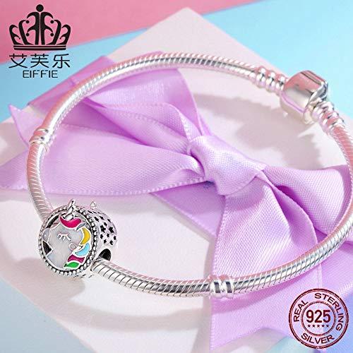JAJAFOOK 925 Sterling Silver Charms Unicorn Enamel Bead for DIY Snake Chain Bracelet