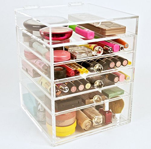 Acrylic Makeup Cosmetics Organizer 5 Drawer Beauty Cube Storage (Crystal Knobs) (Kardashian Makeup Organizer)